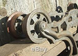 Beautiful mid-size F E Myers cast iron hay trolley carrier