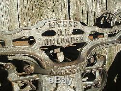Beautifully styled F E Myers mid-size cast iron hay trolley