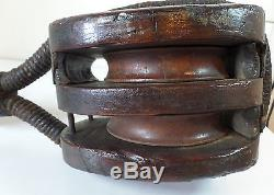 Big Early 18th c. Antique Industrial Rope Barn Ship Nautical Block Tackle Pulley