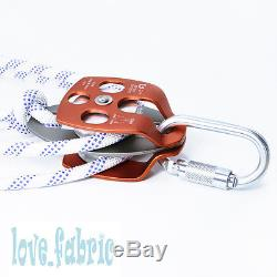 Block and Tackle 7100Lb Climbing Pulley 7/16 Kermantle Rope Rescue Hauling Kit
