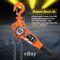Chain Hoist Block and Tackle 3 Ton 6600lb Winch Capacity Engine Lift Puller Fall