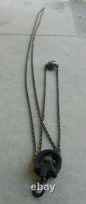 Chain Hoist Dual Block & Tackle Pulley Differential Westons USA Antique 1920s