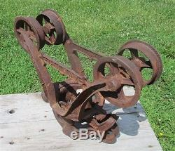 Climax Unloader Hay Trolley Cast Iron Barn Carrier Rustic Vintage Light Fixture