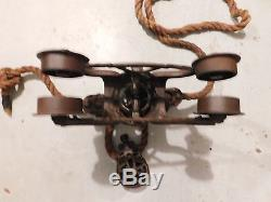 Cloverleaf Unloader Antique Hay Trolley with Pulley & Barn Rope