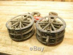 Cool Old Vintage Heavy Duty LARGE Block & Tackle Snatch Block 8 Pulley