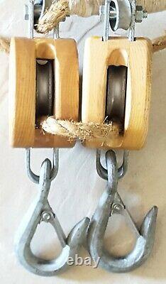 Crosby Western Pulley Block Tackle PAIR with Rope Vintage