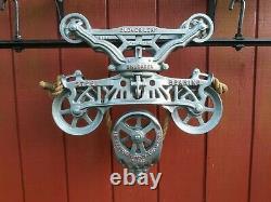 F. E. Myers Cloverleaf Steel Bearing Hay Trolley with Drop Restored Barn Pulley