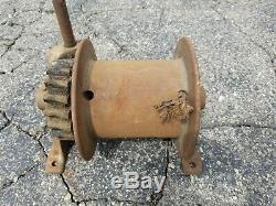 Fantastic Antique Vintage JH Channon Hand Crank Worm Drive Winch Chicago / Works