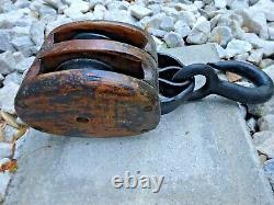 Fine Old Vintage Antique Double Wood Block & Tackle Pulley Boating Farming