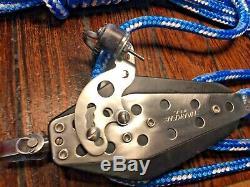 HARKEN 75MM 41 MAIN SHEET, VANG, BLOCK/TACKLE /40' NEW 3/8 LINE WithSNAP SHACKLE