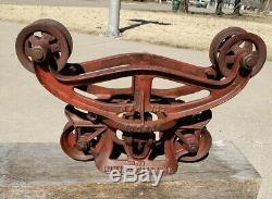HUDSON HAY TROLLEY vtg. Rustic barn farm carrier NO DROP PULLEY exc. Cond