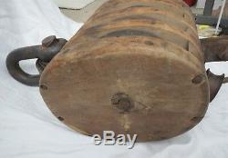HUGE Antique Wood Cast Iron Boat Ship Maritime Barn Block & Tackle Pulley