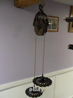 Hay Trolley Barn Cast Iron/wood Pulley Ornate Rustic Decor Hanging Light