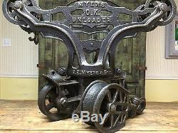 Hay trolley barn vintage antique Carrier Unloader Pulley Cast Iron