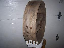 Huge 24 Antique Wooden Flat Belt Pulley Wheel Steampunk Industrial Table Top