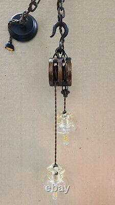 Industrial Block-and-Tackle Pendant Lights