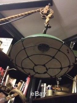 Industrial light // authentic rope pulley // steam punk/ restoration hardware