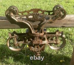 Jumbo ANTIQUE F. E MYERS TIMBER HAY TROLLEY 7 Inch Sheaves Sharp With Rope