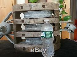 LARGE 24 68 LB Antique Wood And Metal Nautical Pulley