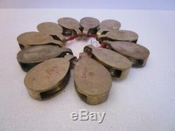 LARGE Lot of 11 pcs ANTIQUE Marine BRASS PULLEY SHIP'S 100% ORIGINAL (2608)