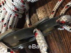 LEWMAR 60MM MAIN SHEET, VANG 41 BLOCK/TACKLE With38' NEW 3/8 LINE