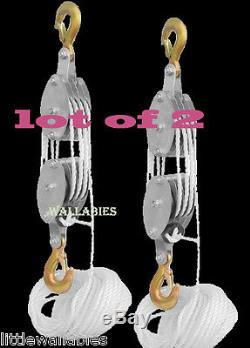 LOT 2 4000LB 2 Ton 65FT Poly Rope Hoist Pulley Block And Tackle Rope 71 Lifting