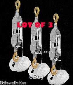 LOT 3 4000LB 2 Ton 65FT Poly Rope Hoist Pulley Block And Tackle Rope 71 Lifting