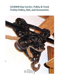 LOUDEN Hay Trolley, Rail, Hay Fork, Wood Pulley & Rope & 3 Rail Brackets MINT