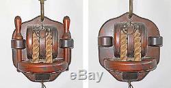 Lamp Sconce Vintage Pulley Block Tackle Wood Nautical Marine Sailing Massive