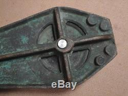 Large Antique Brass Marine Pulley Block Nautical Hardware Tackle Yacht Sailboat