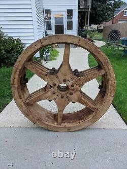 Large Antique LINE SHAFT WOOD Flat Belt PULLEY 30X 8 WIND WATER STEAM POWER