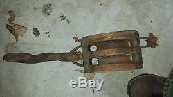 Large vintage nautical ships block and tackle