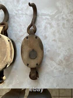 Lot of 4 Antique Wood & Iron Barn Pulley Block and Tackle 1 Double & 3 Single