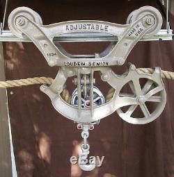 Louden Senior Adjustable Barn Hay Carrier Trolley #254 Drop Pulley+rope+track