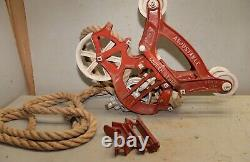 Louden Senior hay trolley pulley rope hanger collectible 1804 repurpose light