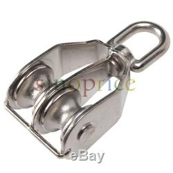 M25 Double Sheave 304 Stainless Steel Rope Pulley Block Chain Traction Wheel