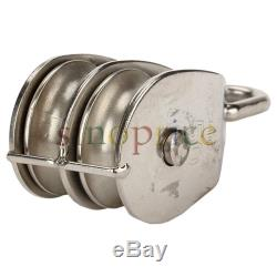 M50 Double Pulley Block for Wire Rope Cable Stainless Steel 304 50mm Diameter