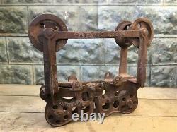 Milwaukee Cast Iron Vintage Pulley Barn Hay Trolley Carrier Vintage Farm Tool