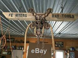Myers antique barn hay trolley with track & rope / antique rustic light fixture