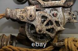 Myers double roller hay carrier trolley two pulley farm drop light antique tool