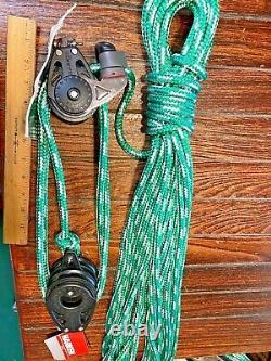 NEW HARKEN 57/75MM CARBO 51 MAINSHEET, VANG, BLOCK/TACKLE With60' NEW 3/8 LINE