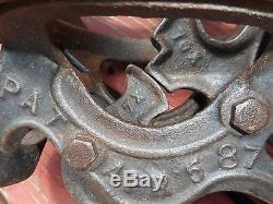 NEY MFG. HAY TROLLEY & PULLEY -1887- Vintage Cast Iron Primitive Farm Barn Hoist