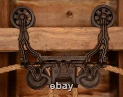 ORNATE Vintage 1884 Myers Hay Barn Trolley Carrier Farmhouse Pulley