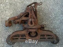 Old Antique Myers Hay Barn Trolley Cast Iron Carrier Pulley Steampunk