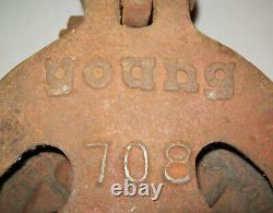Old Antique Vtg Ca 1900's Cast Iron Young 708 Seattle Pulley Mans Grinning Face