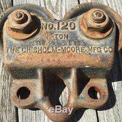 Old Vtg Antique Chisholm Moore Mfg Co. No. 120 1 Ton Trolley Wheel Hoist Barn