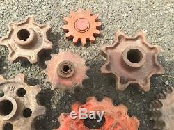 Old Vtg Antique Industrial Wheel Gear Sprocket Metal Steampunk Art Lot Of 19