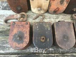 Original Antique Lot Of 10 Wooden Pulleys Vintage Wood Farm Pulley Rustic Old