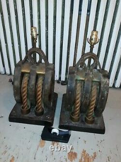 Pair Huge Antique Nautical Block And Tackle Table Lamps Great Rustic