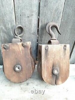 Pair Of Antique Wooden Barn Pullies Block And Tackle